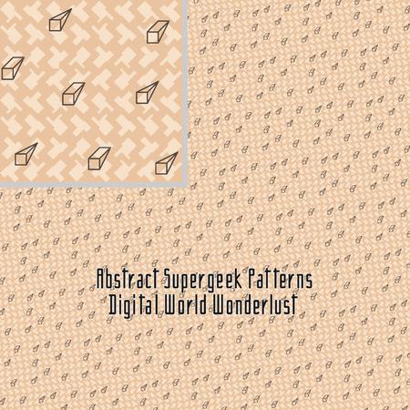 strange: seamless strange abstract stylized digital pattern with geometric figures Illustration