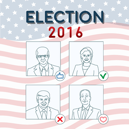 squinting: March 09, 2016 USA  elections conceptual illustration with stylized politics portraits