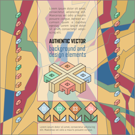 authentic: stylized authentic vector background with isometric design elements