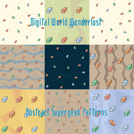 strange: set of strange abstract stylized digital patterns