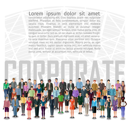 large group of business people: large group of people standing in front of abstract machine, conceptual business illustration Illustration