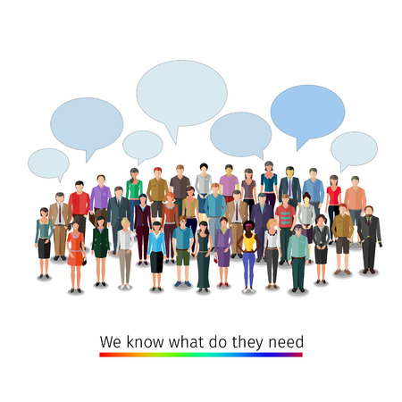 bubble people: large group of people with speech bubbles, conceptual business illustration Illustration