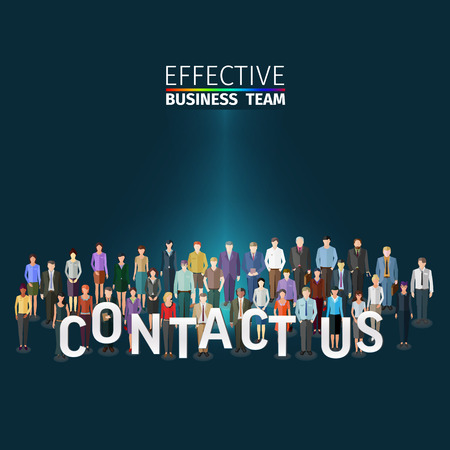business group: large group of people standing in light, conceptual business illustration