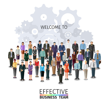 organised group: large group of people standing in front of abstract machine, conceptual business illustration Illustration