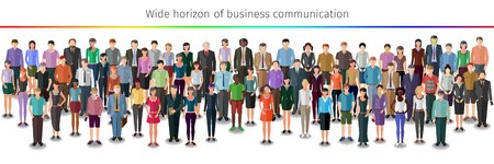 organised group: huge crowd of different vector people standing in rows
