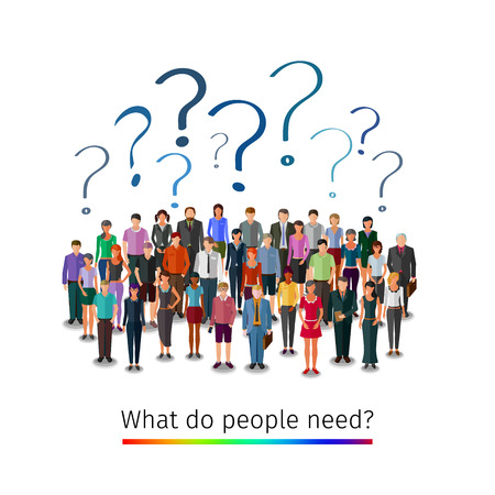 asking: large group of people asking questions, conceptual business illustration