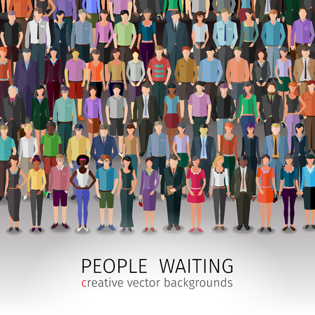 organised: huge crowd of different vector people standing in rows