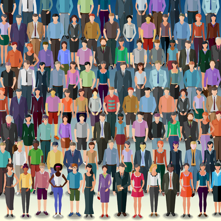 asian business group: huge crowd of different vector people standing in rows