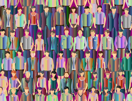 casual people: seamless stylized people background with crowd of different casual people