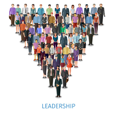 huge crowd of different casual people follow the leader, conceptual illustration