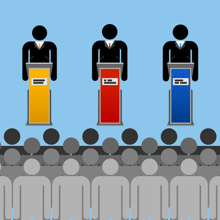 supporting: stylized illustration of modern election campaign with speaker and his supporting team