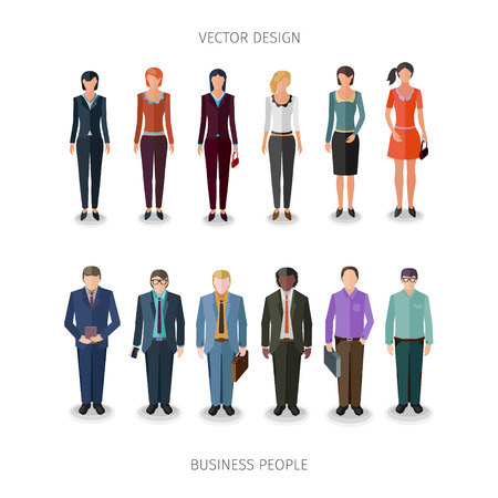 business cloth: collection of twelve people standing frontal in business cloth Illustration
