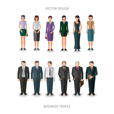 frontal: collection of twelve people standing frontal in business cloth Illustration