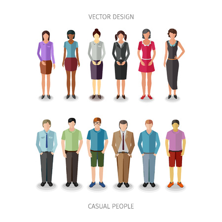 frontal: collection of twelve people standing frontal in casual cloth