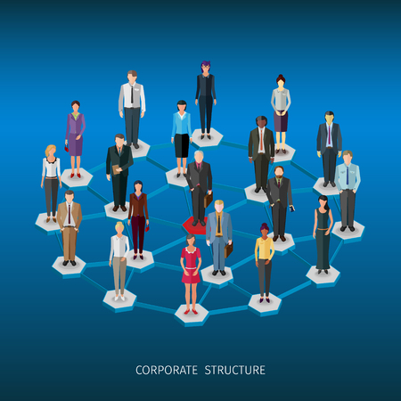 between: group of standing frontal business people forming a network