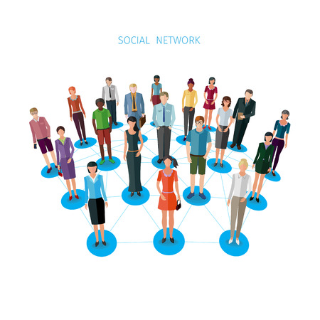frontal: group of standing frontal business people forming a network