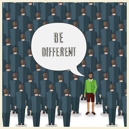 be different: motivation quote with young man standing in a huge crowd of suits: be different