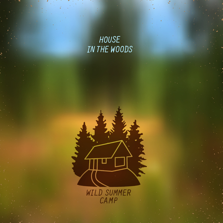 dream land: stylized line art sign with small house in the woods