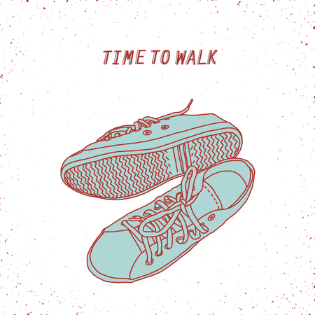 shoelace: line art hand drawn shoes, conceptual sign or illustration Illustration