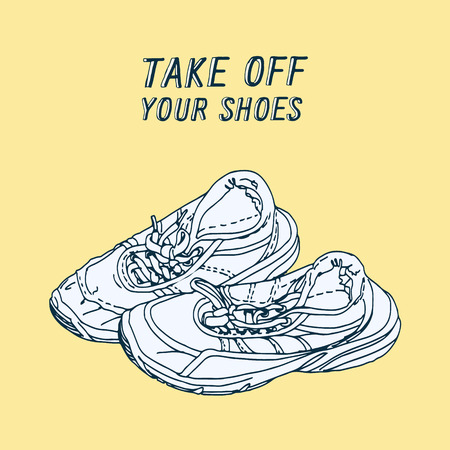 take: take off your shoes - vector illustrated sign Illustration