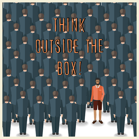 young man standing: motivation quote with young man standing in a huge crowd of suits: think outside the box