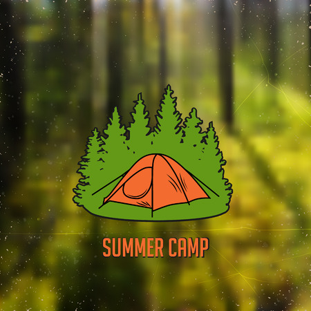 ambience: stylized line art sign with small tent in the woods Illustration
