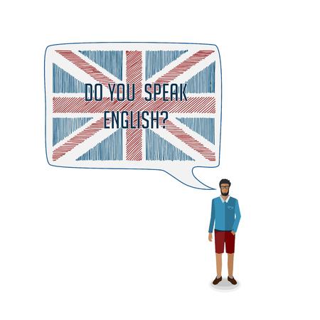 conceptual: conceptual vector illustration with man talking English Illustration