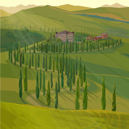 rural road: stylized summer landscape with rural road and castle, vector illustration