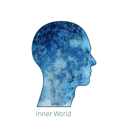 world thinking: mans head silhouette with abstract watercolor texture inside