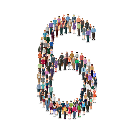 different jobs: Large group of people foming number on white background: different casual people collection Illustration