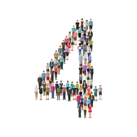 casual business team: Large group of people foming number on white background: different casual people collection Illustration