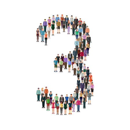 casual people: Large group of people foming number on white background: different casual people collection Illustration
