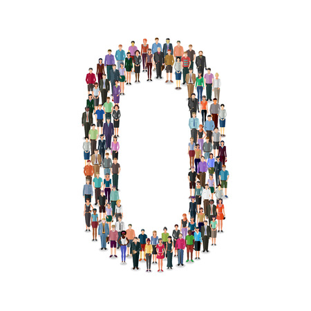 Large group of people foming number on white background: different casual people collection Ilustração