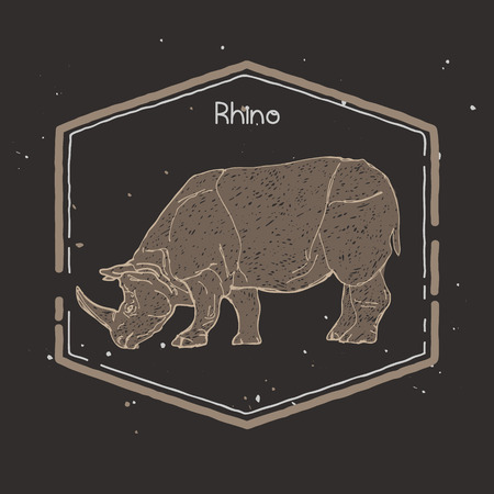strenght: hand drawn silhouette of mighty wild animal, giant rhino