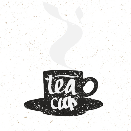 caffee: hand drawn hot tea cup silhouette, stylized sign