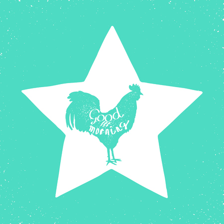 weathercock: rooster hand drawn silhouette and text good morning on it Illustration