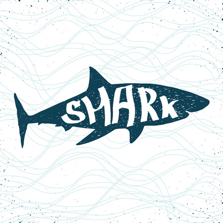 danger to life: shark hand drawn silhouette on stylized waves background Illustration