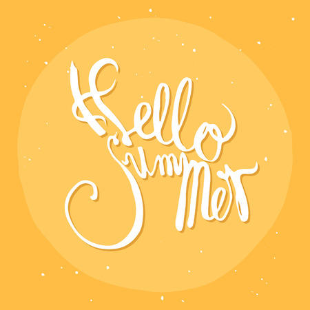 hand drawn lettering hello summer isolated on yellow