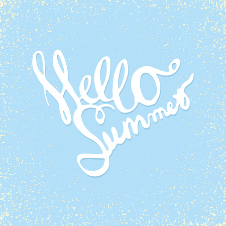 hand drawn lettering hello summer isolated on blue Illustration
