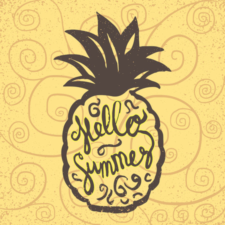 stylized hand drawn hello summer sign with pineapple