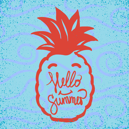 pring: stylized hand drawn hello summer sign with smiling pineapple Illustration