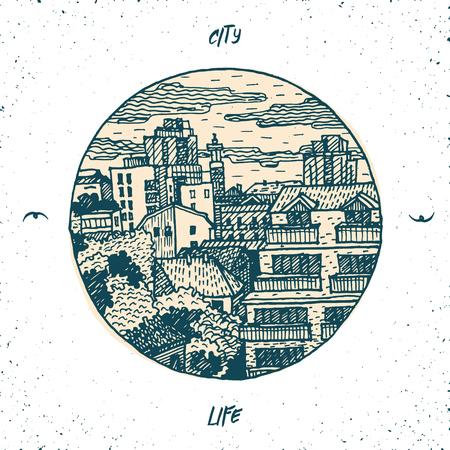 megapolis: stylized hand drawn illustration with modern cityscape