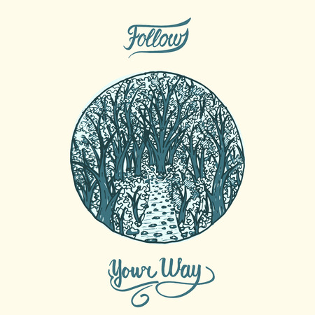 narrow: narrow path into deep woods, stylized hand drawn illustration in circle