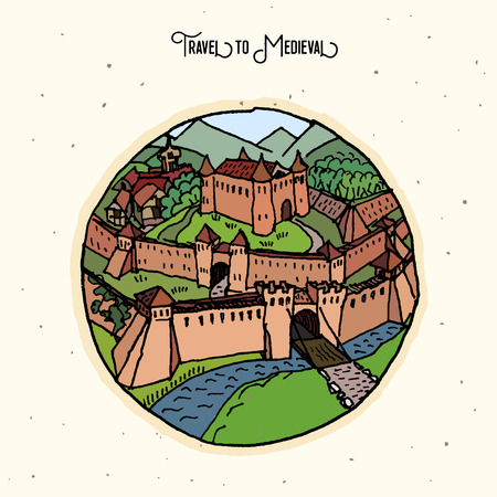 fortification: stylized hand drawn illustration of an old european castle