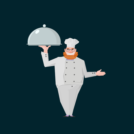 redhair: business illustration with redhair chef standing with metal salver Illustration