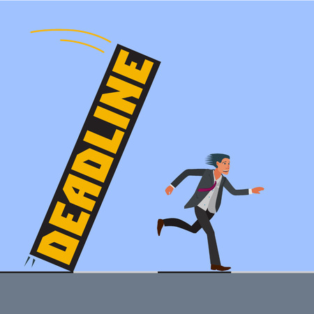 tardiness: scared man in a suit trying to escape from deadline