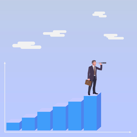 man standing alone: Business man standing on a stair and watching forward in a spyglass