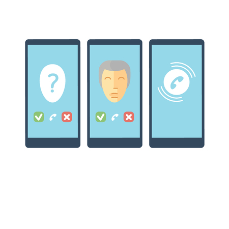 make a call: set of stylized mobile phone talk signs and symbols
