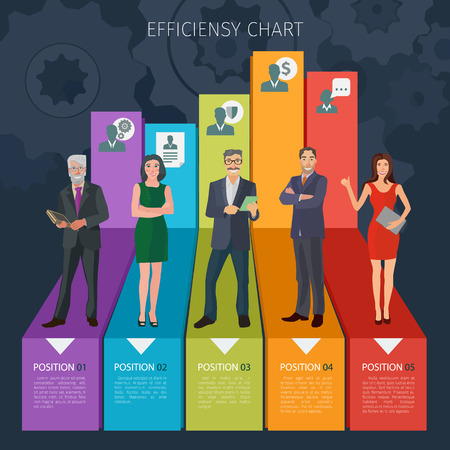 nice guy: group of positive business people standng on stylised business charts