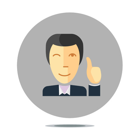 assert: conceptual sign with person smiling and holding thumb up, flat design style Illustration